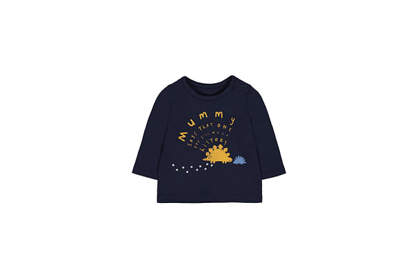 Boys Full Sleeves Text Print T-Shirt - Navy