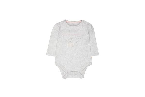 Girls Full Sleeves Bodysuit Text Print - Grey