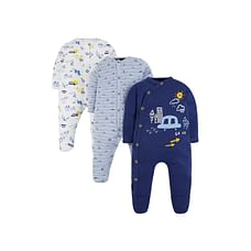 Boys Full Sleeves Car Patch Sleepsuit - Pack Of 3 - Multicolor