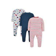 Boys Full Sleeves Dinosaur Print Sleepsuit - Pack Of 3 - Multicolor
