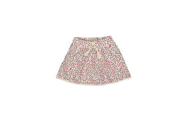 Red And Grey Floral Skirt