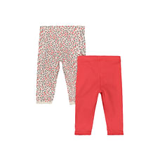 Coral Floral Leggings - 2 Pack