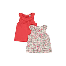 Girls Sleeveless T-Shirt Floral Print - Pack Of 2 - Red