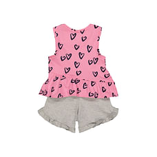Pink Heart Vest And Shorts Set