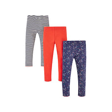 Girls Heart Print And Striped Leggings - Pack Of 3 - Multicolor