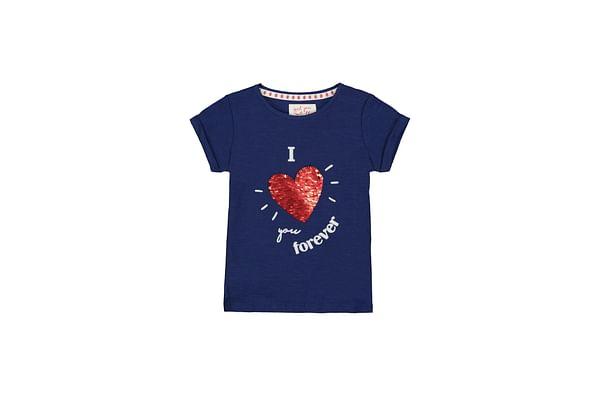 Navy Sequin Heart I Love You Forever T-Shirt