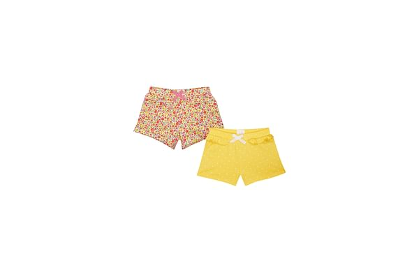 Girls Polka Dots And Floral Print Jersey Shorts - Pack Of 2 - Multicolor