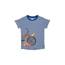 Boys Half Sleeves Striped Bike Print T-Shirt - Navy