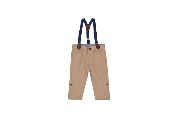 Boys Trouser Roll Up With Suspender - Khaki