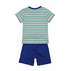 Boys Short T-Shirt Set Stripe - Green Blue