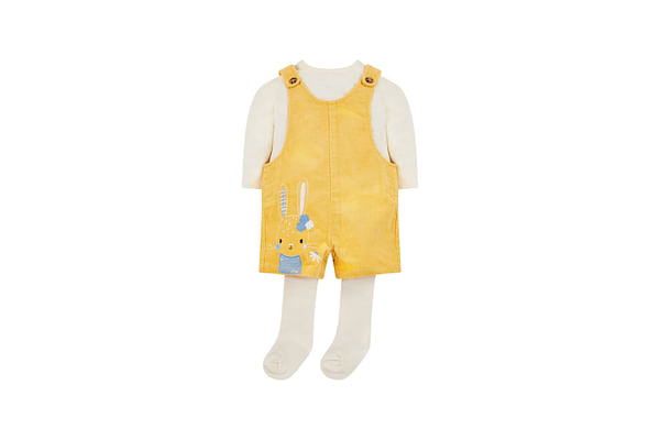 Girls Full Sleeves Dungaree Top Tight Set Corduroy Embellished Bunny - Pack Of 3 - Yellow White
