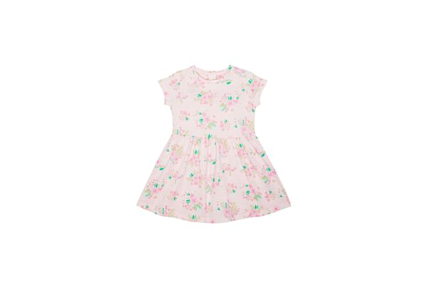 Girls Half Sleeves Dress Floral Print - White