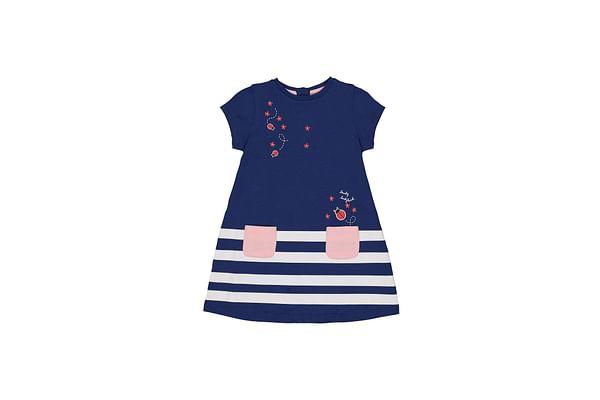 Girls Half Sleeves Dress A -Line Stripe - Navy