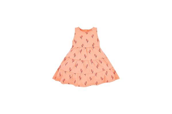 Girls Half Sleeves Dress Tiered Flamingo Print - Pink