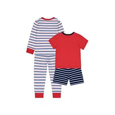 Boys Full Sleeves Pyjamas Racing Cars Print And Stripe - Pack Of 2 - Red
