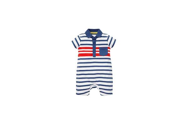Boys Striped Polo Romper - Navy