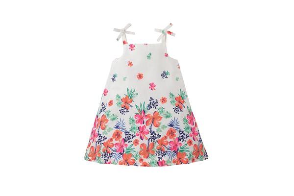 Girls Floral Border Print Dress - White
