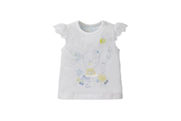 Girls Broderie Bunny T-Shirt - White