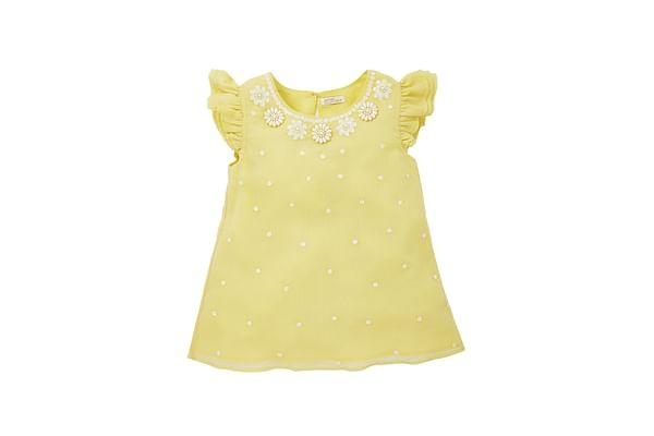 Girls Embellished Neck Blouse - Yellow