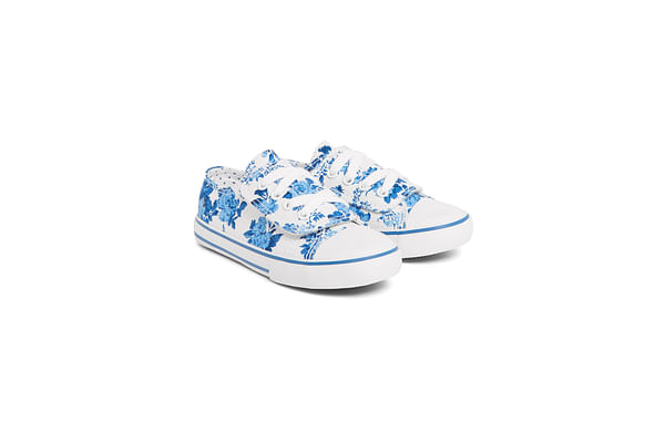 Girls Floral Canvas Shoes - Cream