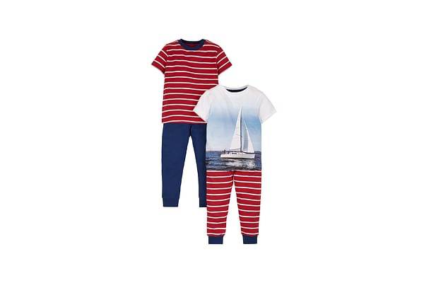 Boys Photographic Boat Pyjamas - Pack Of 2 - Red
