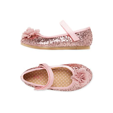 Girls Glitter Flower Shoes - Pink