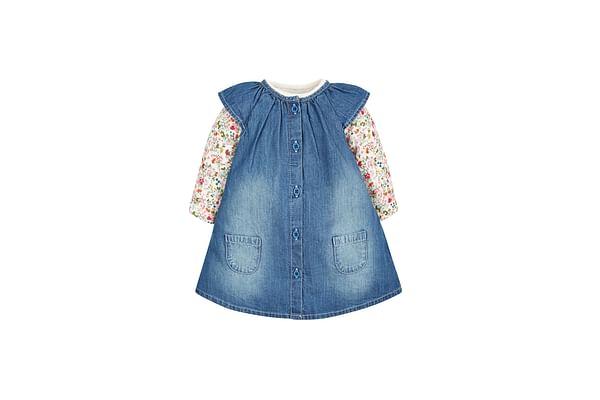 Girls Floral Bodysuit And Denim Pinny Set - Blue