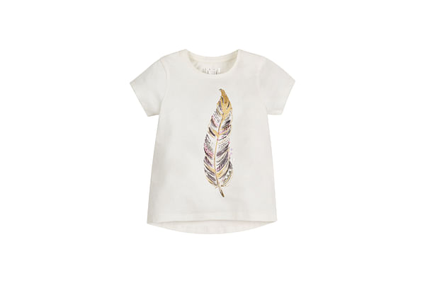 Girls Feather T-Shirt - White