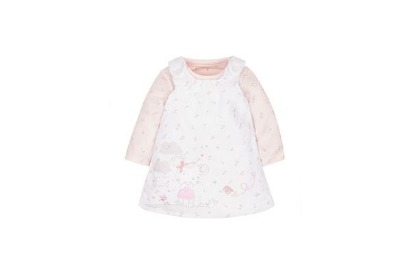 Girls Little Mouse Dress And Bodysuit Set - White