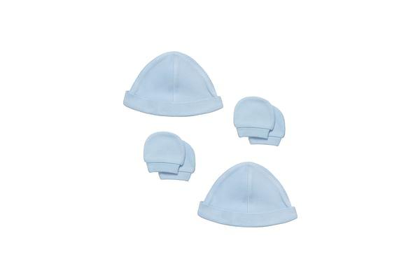 Boys Interlock Hat And Mitts - 4 Piece Set - Blue