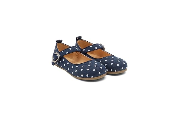 Girls Denim Spot Ballerina Shoes - Blue
