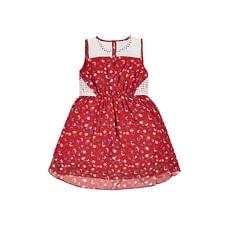 Girls Floral Dress - Red