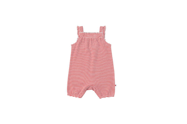 Girls Stripe Romper - Red