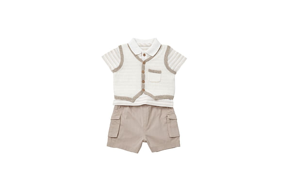 Boys Tank Top, Polo Shirt And Shorts Set - Beige