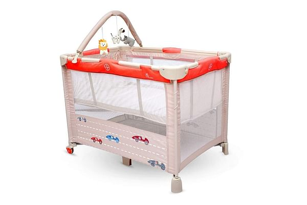 R For Rabbit Hide And Seek Baby Travel Cot Red Beige