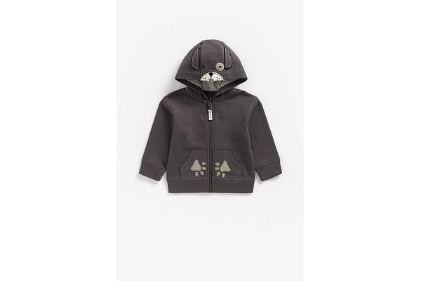 Boys Full Sleeves Hooded Sweatshirt Dog Patchwork - Black