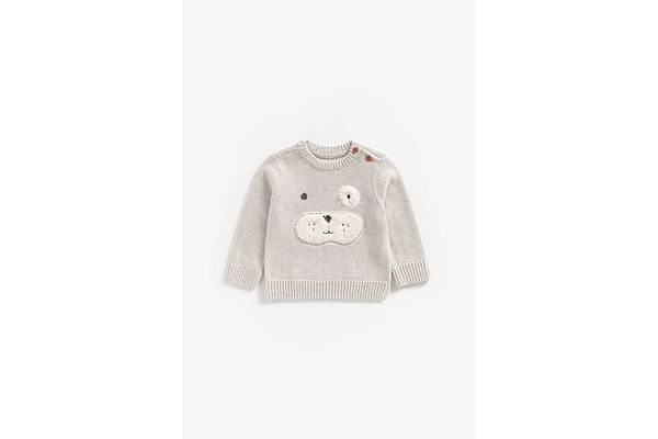 Boys Full Sleeves Sweater Puppy Patchwork - Grey