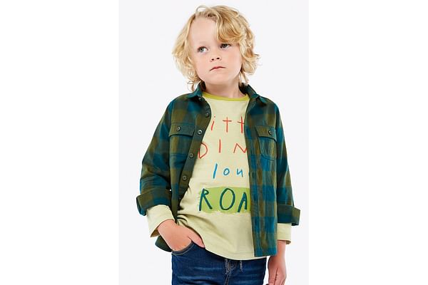 Boys Full Sleeves Check Shirt And Tee Set Text Print - Multicolor