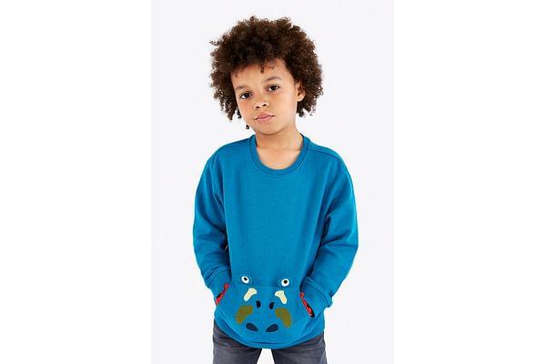 Boys Full Sleeves Sweatshirt 3D Dino Details - Blue