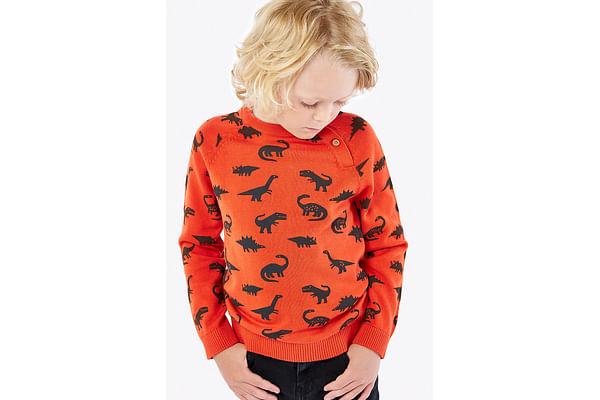 Boys Full Sleeves Sweater Dino Design - Orange