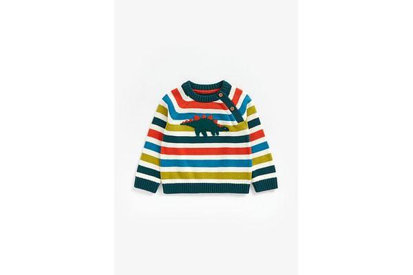 Boys Full Sleeves Sweater Textured Dino Design - Multicolor