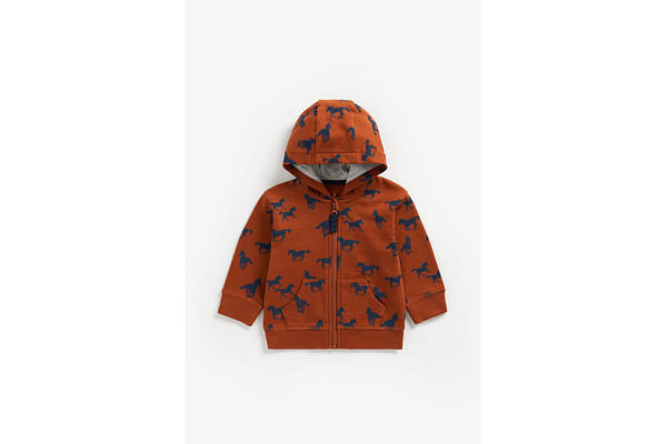 Boys Full Sleeves Hooded Sweatshirt Horse Print - Brown