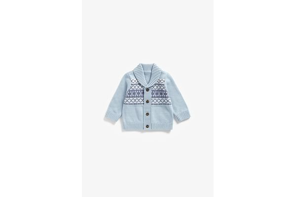 Boys Full Sleeves Cardigan Fair Isle Design - Blue