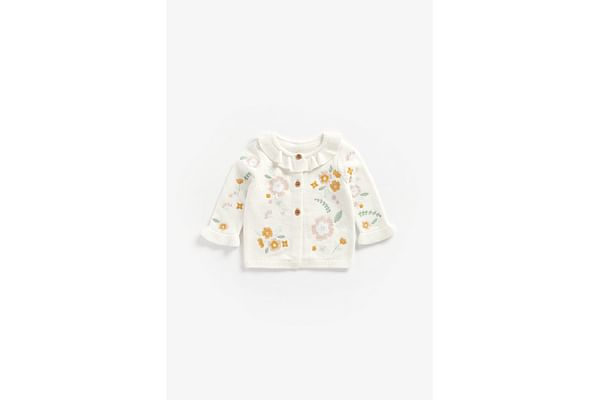 Girls Full Sleeves Cardigan Floral Embroidery - White