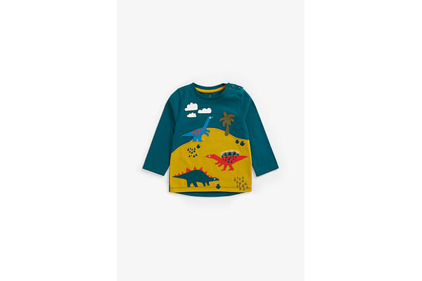 Boys Full Sleeves T-Shirt Dino Patchwork - Teal