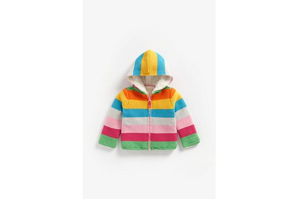 Girls Full Sleeves Hooded Sweater Rainbow Stripes - Multicolor