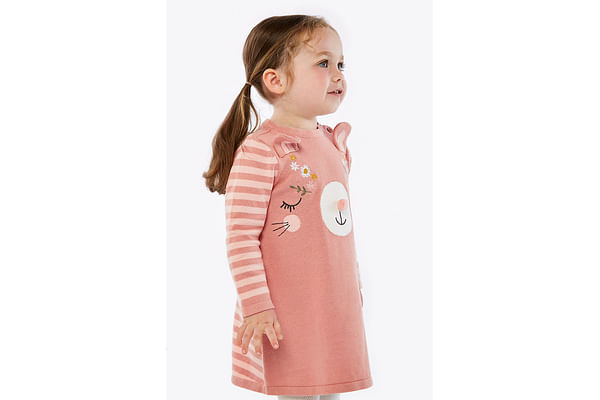 Girls Full Sleeves Dress And Tight Set Embroidered And 3D Ear Details - Multicolor