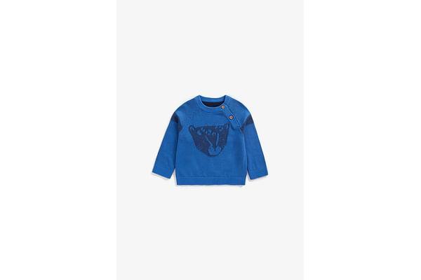 Boys Full Sleeves Sweater Leopard Design - Blue