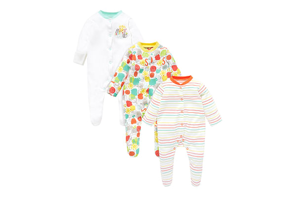 Unisex Full Sleeves Sleepsuit Printed And Striped - Pack Of 3 - Multicolor