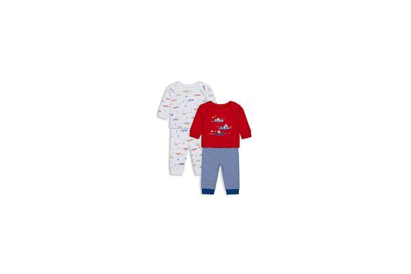 Boys Full Sleeves Pyjama Set Car Patchwork - Pack Of 2 - Multicolor